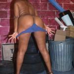 Ebony babe in blue strips